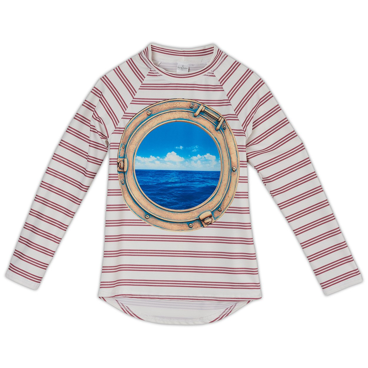 Modern Striped Long Sleeve Rash Guard Top UPF 50+