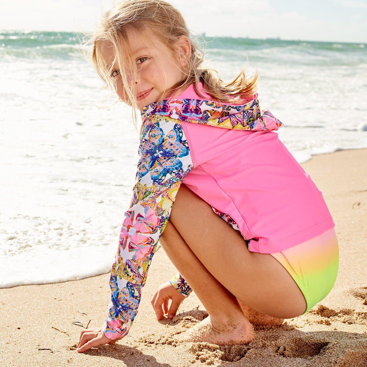 Opaline World Hybrid Zip Up Hoodie Upf50 Kids Girls Size 2 12 Butterflies Pink Multicolor Beach Girl Kneeling On The Sand Sunpoplife