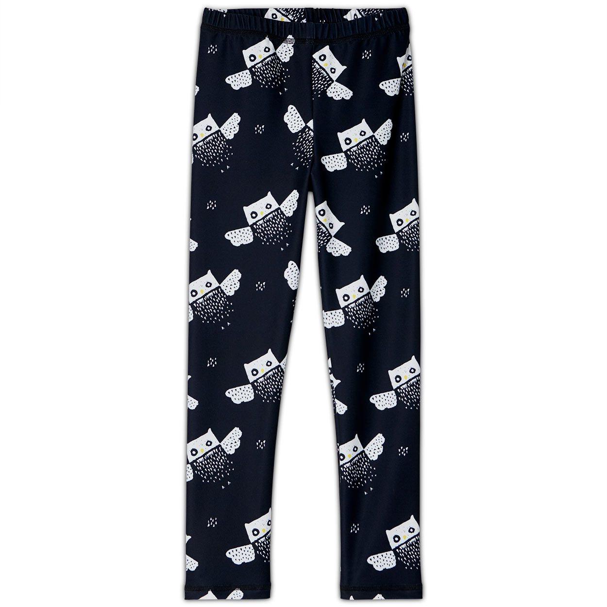 Owls Sunblocker Leggings Upf50 Black White Unisex Boys Girls Size 2 6 Sunpoplife