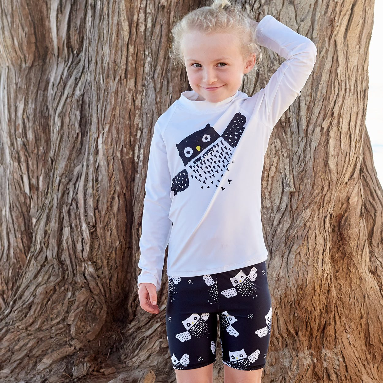 Owls Sunblocker Shorts Upf50 Kids Boys Girls Size 2 12 Black White Unisex Little Girl Fixing Her Ponytail Sunpoplife