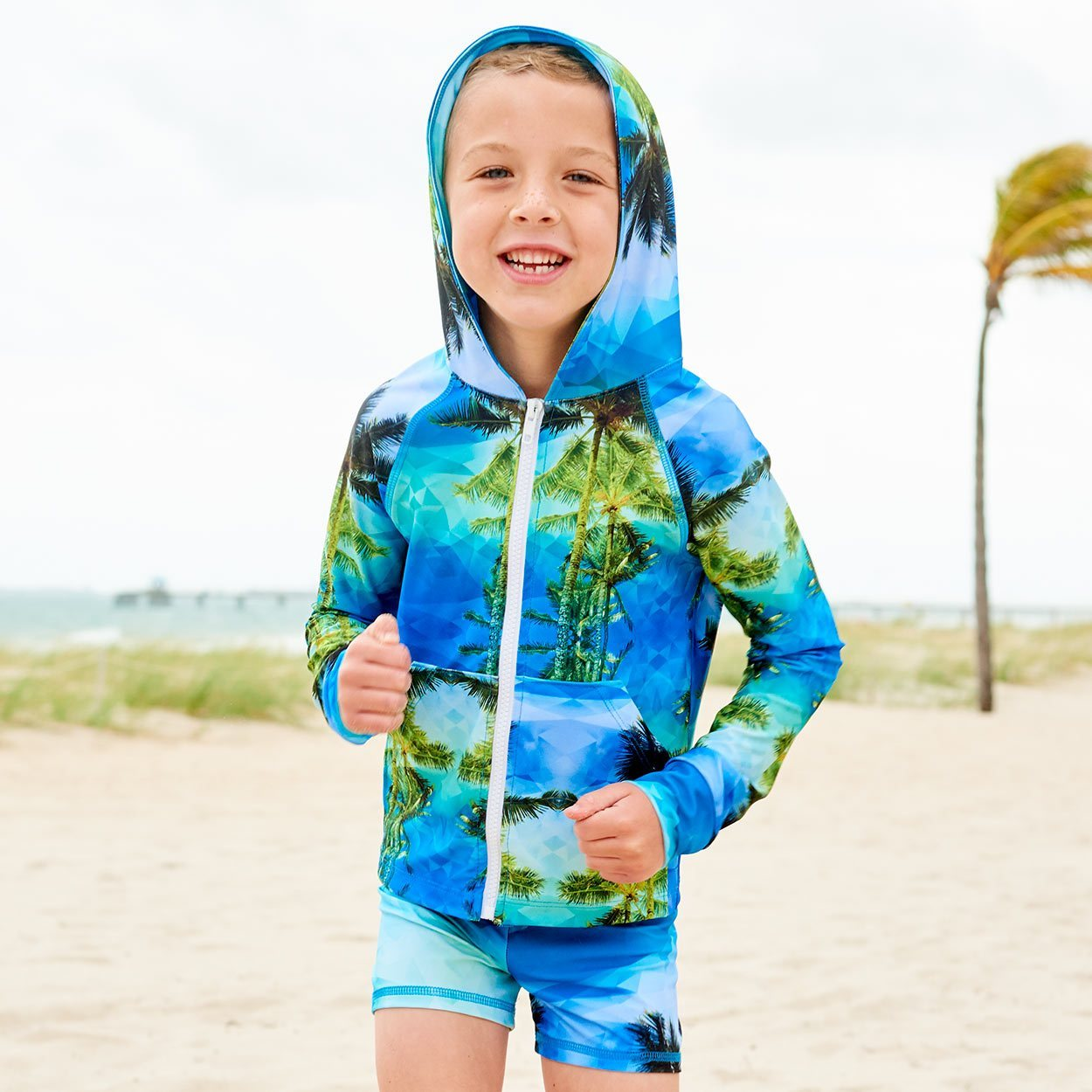 Palm Trees Hybrid Shorts Upf50 Kids Boys Size 2 12 Green Blue Geo Tropical Boy Jogging On The Sand On A Sunny Day Sunpoplife