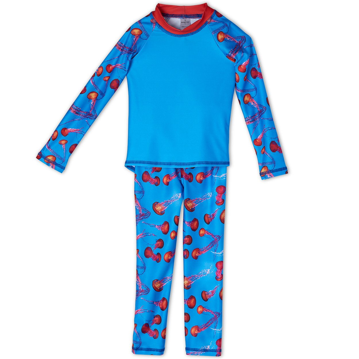 Red Jellyfish 2-pc Rash Guard Set UPF 50+ for Boys