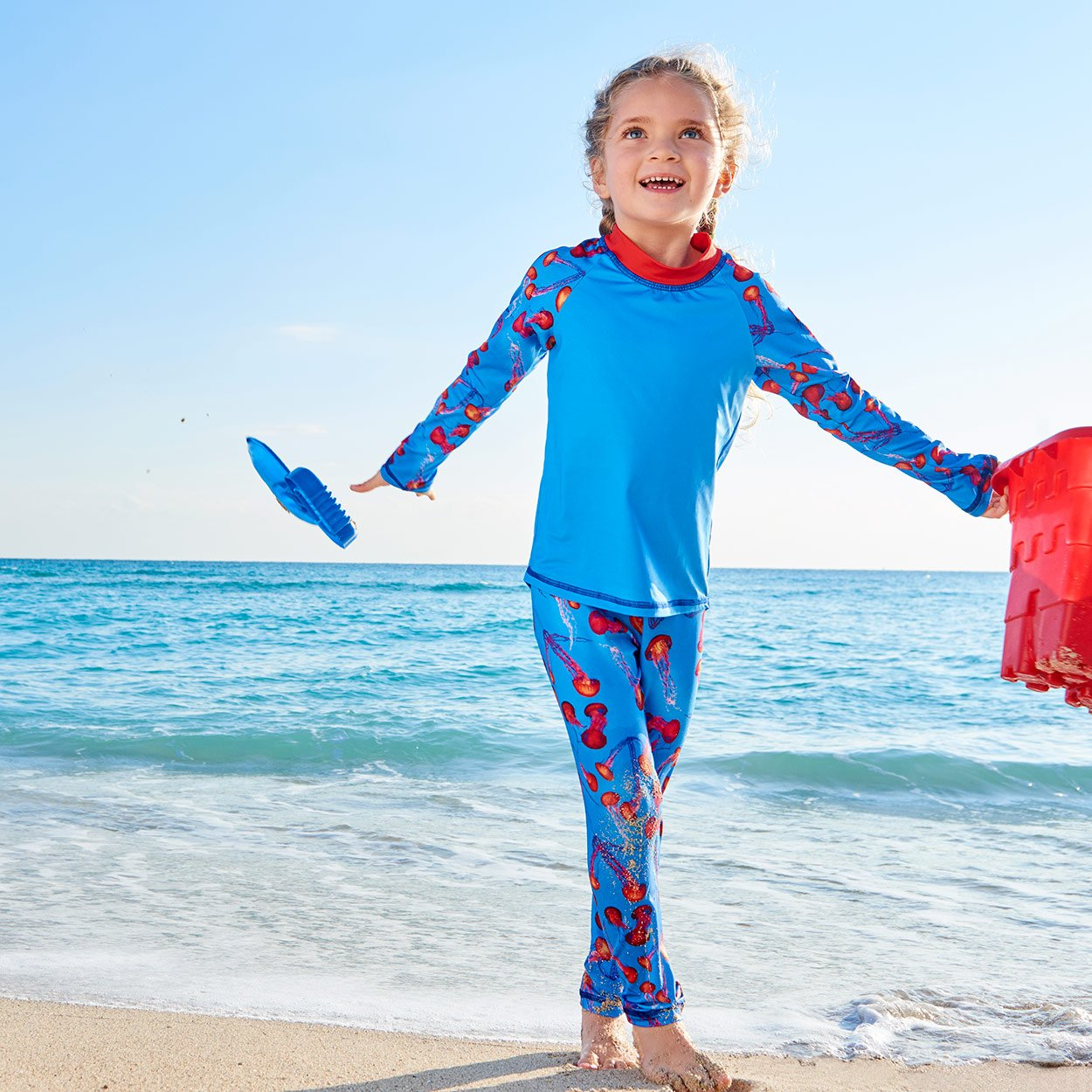 Red Jellyfish 2Pc Rash Guard Set Girl Sunny Sky Beach Sunpoplife