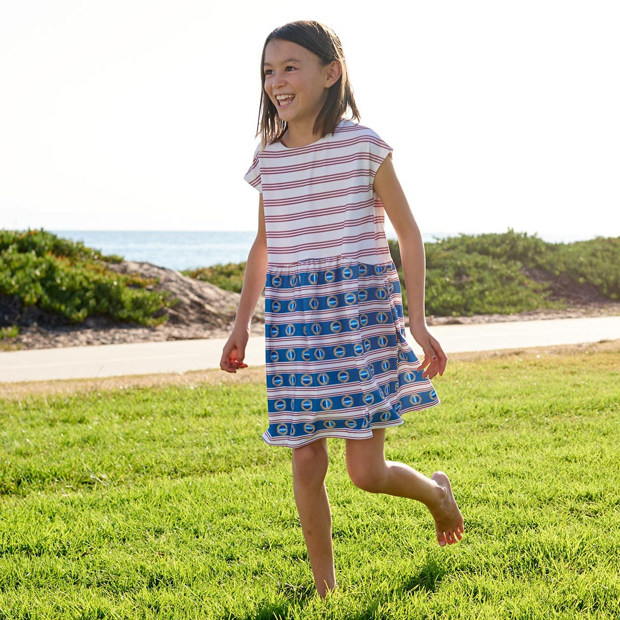 Red Stripe Dress Upf50 Size 2 12 Capsleeve Girl Smiling Running on the Grass Sunny Day Modern Mariner Sunpoplife