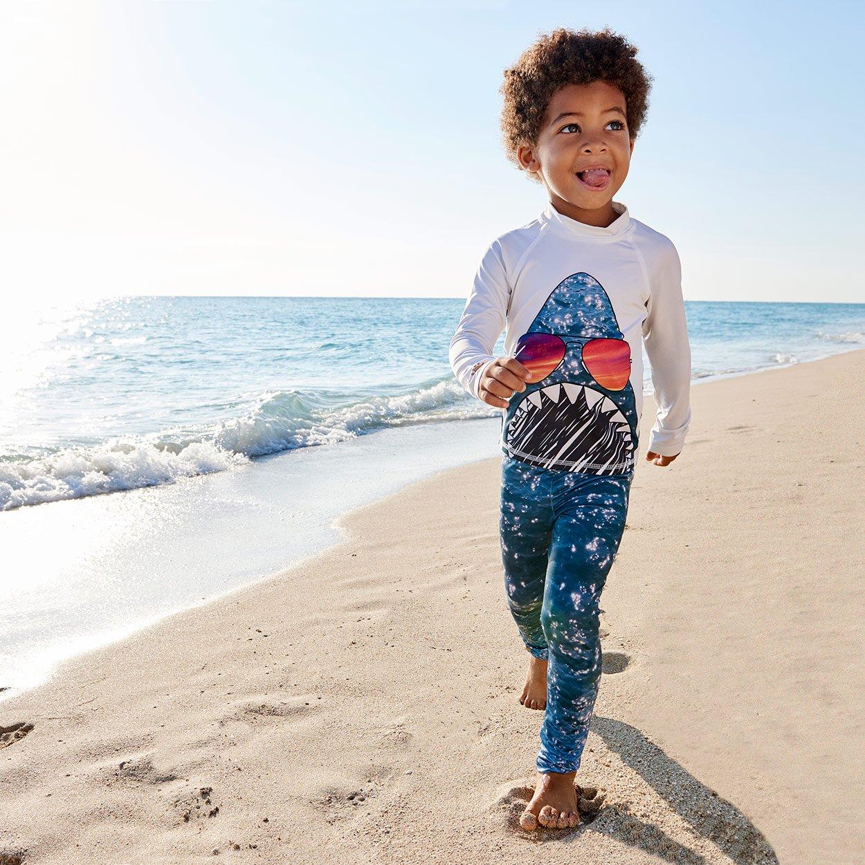 Shark 2 Pc Rash Guard Set Boys At The Beach Sunpoplife
