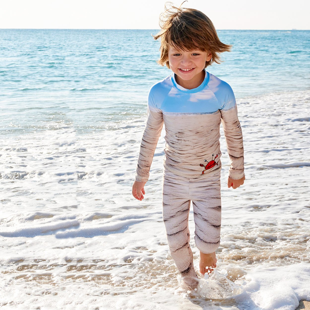 Sunny Crab 2 Pc Rash Guard Set Boys Light Wetsuit For The Beach Sunpoplife