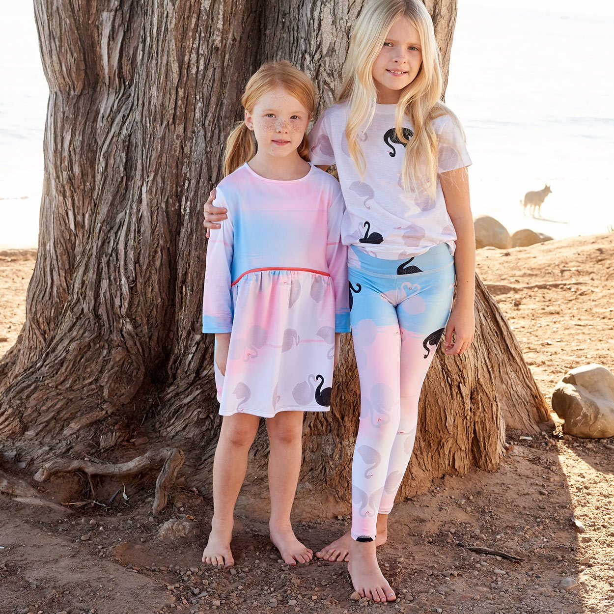 Swans Sunblock Youth Leggings Upf50 Girls Size 6 12 White Aqua Peach Two Sisters In The Shade By The Beach Sunpoplife