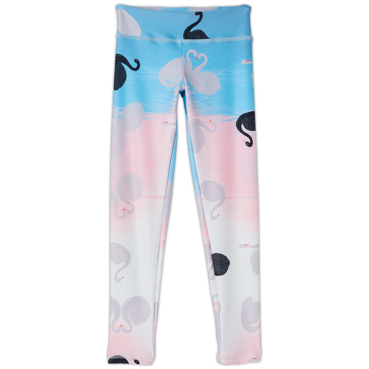 Swans Sunblocker Youth Leggings Upf50 Girls 6 12 White Aqua Peach Sunpoplife