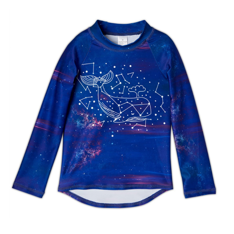 Whale Long Sleeve Rash Guard Top Upf50 Kids Boys Girls Size 2 12 Purple Unisex Cetus Constellations Cosmos Sunpoplife